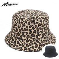 Mulheres Leopard Imprimir Bucket Confortável Respiração Dobrável Homens Praia Plana Top Sun Hat Alta Qualidade Plana Panamá Hat Street1