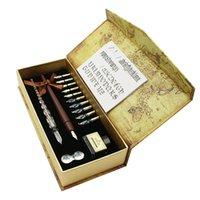 الكملاء 10 NIBS خشبية تراجع القلم مجموعة الزجاج الخط القلم مجموعة للكرتون حروف الفن الرسم رسم الخرائط ديكور 201202