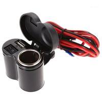 오토바이 스쿠터 손잡이 장착 충전기 방수 USB 충전기 12V / 24V 오토바이 담배 라이터 블랙 1