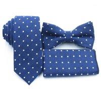 Cravate de cou Ensemble bleu marine bleu marine, serviette de poche d'arc à pois blanche, cravate de coton boutique, cravate pour hommes profonds1