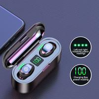 Fone de ouvido sem fio Bluetooth V5.0 F9 TWS Headphone HiFi Estéreo Fones de ouvido LED Display Touch Control 2000mAh Cabeço de Potência Fone de ouvido com Mic
