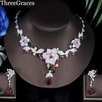 Threegraçages Costume de luxe Bijoux Forme de fleur multicolore Cubic Zirconia Bridal African Wedding Party Sets JS080