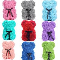 Sevgililer Günü 25 cm Gül Ayı Yapay Sabun Gül Teddy Bear Ebedi Gül Noel Sevgililer Doğum Günü Düğün Kız Arkadaş Hediye