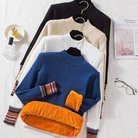 Frauenpullover FoamLina Samt Pullover für Frauen Mode Winterkleidung Weiche Warme gestreifte Druck Langarm Casual Slim Fit Pullover Swea