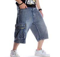 Летние мужские шорты джинсов хип-хоп Denim Boardshorts американской моды брюки Свободного Багги хлопок Mens брюки Днище Большого размер 46