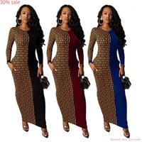 Африканские платья женщины Boho с длинным рукавом Maxi Leopard Club платья женская вечеринка платья геометрические осенние моды bodycon халат femme1