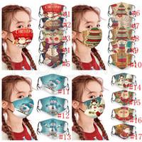 Máscaras fiesta de Navidad de los niños lavables ajustables Mascarillas de protección de Navidad del copo de nieve de Santa Claus muñeco de nieve Impreso boca cubierta RRA3673 Máscara
