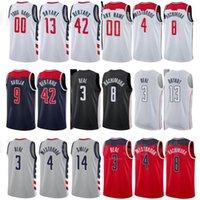 Imprimir Basquetebol Davis Bertans Jersey 42 Bradley Beal 3 Russell Westbrook 4 Raul Neto 19 Cidade Ganhou Edição Vermelho Branco Nome do Nome Personalizado