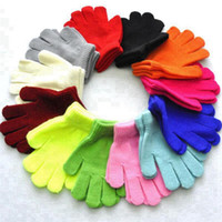 12 Colors Children Winter Gloves Candy Color Boy Girl Acrylic Glove Kid Warm Knitted Finger Stretch Mitten Student Outdoor Sports Gloves