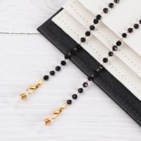 Fashion Gafas Cadenas Cristal Gafas Correa Correa Acrílico Black Beads Collar Gafas de sol Metal