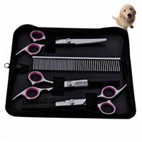 Pet de aço inoxidável tesoura tesoura de cabeleireiro material de corte tesous cães pente de cabelo máquina de gato cão de gato conjunto de grooming