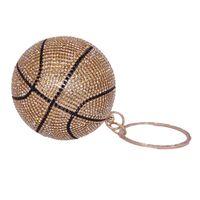 Баскетбол круглая мяч золотые кошельки сцепления для женщин вечер двойной ручкой хрустальные хэспульсы сумки дамы вечеринка ужин вечернее фото