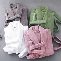 Mulheres Sleepwear Mulheres Bathrobe Winter Towel Toalha Velo Espesso Homens Quentes Robe Nightgown Kimono Vestido Pijamas Lady Robe1