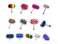 Neue Ankunft Multi Color Silikon Edelstahl Vibrierende Zunge Bar Ring Bolzen Schmuckkörper Piercing 13stil