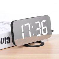 Diğer Saatler Aksesuarları Çalar Saat Dijital Elektronik Akıllı Mekanik LED Ekran Zaman Masa Masası 2 Android Mirro için USB Şarj Bağlantı Noktaları