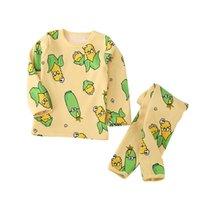 Наборы одежды Детские пижамы хлопчатобумажные мальчики спящие костюм осень девочек с длинным рукавом Pijamas Tops + брюки 2шт детей 3-15т