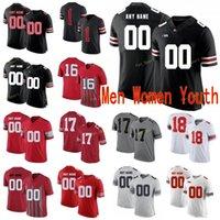 Özel Ohio State Buckeyes Kolej Futbol Formaları 17 Chris Olave 18 Tate Martell 2 Chase Young 2 JK Dobbins Erkek Kadın Gençlik Dikişli