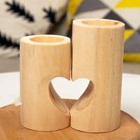 Soporte de vela de corazón dulce de madera Decoración de la boda de las velas de la mesa con los tenedores de la lámpara de té cuadrada de madera creativa 63 P2