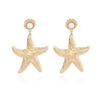 Europäische und amerikanische Net rot rote Ohrringe Goldlegierungsschale Perlenohrringe übertriebene Starfish-Ohrringe