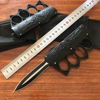 Nouveau crâne couteau de poing américains Micro couteau automatique couteaux tactiques Autodéfense survie outils edc boucle en fer Martial Arts UT85 C07 BM42