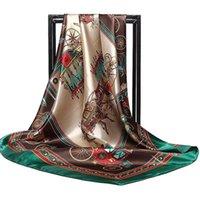 Bufandas de la marca de la marca de la marca Moda 2021 Flower Print Silk Cuadrado Pequeño Pañuelo Pequeño Cuello Cuello Bufandas 90 * 90 cm