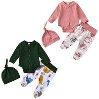 Vêtements Enfants Girls Garçons Tenues pour bébés Tops pour bébés + pantalons imprimés floraux de dinosaure + chapeaux 3pcs / set Spring Automne Baby Vêtements Ensembles Z1746