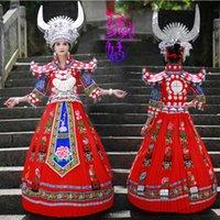 Stage Wear XG132 Cinese Minoranza Nazionalità Costume Hmong Ricamo Miao Silver Hat Cappello da sposa Abito da sposa Dance