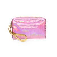 Saco cosmético das mulheres, saco de composição cor-de-rosa do laser das laser, saco impermeável do mini organizador, sacos pequenos e femininos da composição