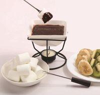 Fonduta di cioccolato in porcellana in ceramica al cioccolato in ceramica Fonduta di cioccolato in porcellana in porcellana con bruciatore in ferro nero e BByhth Warmslove