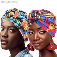 Moda Kadınlar Afrika Desen Düğüm Çiçek Türban Müslüman Pamuk Başörtüsü Headwrap Bayanlar Kemo Kap Şapka Bandanas Saç Aksesuarları1