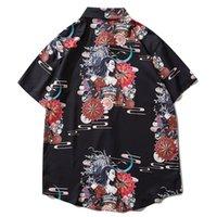 2021 Yeni Aerefric Eden Hip Hop İhale Assassin Baskı Japon Tarzı Hawaii Yaz Üstleri Gömlek Streetwear Kısa Kol Krid
