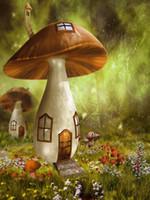 Sfondi Cartoon Fantasy Mushroom House vinile fondali fotografia all'aperto sogno Foresta Fiori appena nato Photo Booth per i bambini Studio