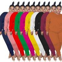 Frauen Designer Trasksuit 2021 Frühling plus Größe 3XL Damen Dünnpullover Zwei Teiler Anzug Jacke Top Pants Solid Color Sports Set GG11804