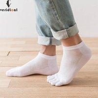 Veridical 5 пары / лота хлопчатобумажные носки пальцев мужчины летние сетки дышащие носки с пальцами мужского мальчика калькуляции 1 палец носки
