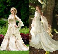 빈티지 고딕 양식의 웨딩 드레스 공주 코르셋 돌아 가기 긴 소매 컨트리 가든 웨딩 드레스 셀틱 르네상스 코스프레 보헤미안 신부 가운