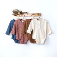 Kt ins baby дети мальчики девочек вязаные коммутаторы с длинным рукавом осень весенние новорожденные комбинезоны поднимаются ткани боди onsyies