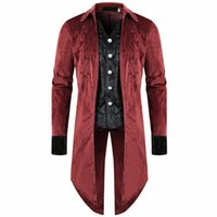 Retro Steampunk Tailcoat Trench Jacket Coat Gothic Men Halloween Victorian Costume Dress Suits Vest Outfit Embroidery For Men