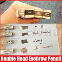 Crayon à sourcils de maquillage à l'oeil chaud à la souris à sourcils brouillon ébène ébène / brun moyen double terminé avec brosse à sourcils