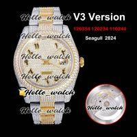 V3 Upgrade Versão 126334 126234 116244 Gypsophila Árabe Mark Diamantes Discar ETA 2824 Mens Automático Relógio 904L Aço Todos os Relógios de Diamante