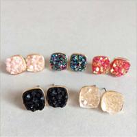 Мода Drusy Druzy серьги Позолоченные Популярные площади капли воды Gemstone Камень серьги стержня для женщин ps1858