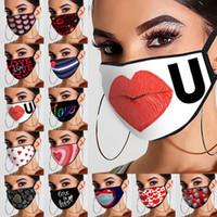 1 PZ Valentine's Day Mask Stampato Tessuto di cotone Stampato Adulto Coppia Adulto Fibra antipolvere Appeso Tipo di orecchio Maschera lavabile