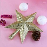 Decorações de Natal 4,5 polegadas Árvore Top Star Decoração Tesouros Gold Brilhante Mini Topper Party Decoração1