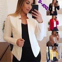 Abiti da donna Blazer BHDD 2021 Donne Blazer di colore solido Giacca pieghettata manica plissettata in cappotto sciolto ufficio signora signora stile piccolo vestito singolo pulsante