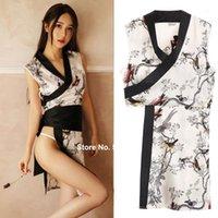 Японские ультрамодные женские шелковые кимоно халат дома носить ночные белье белье пинсы глубокие V-образные шеи павлин сплит сексуальное юкатаное платье1
