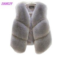 Искусственного меха жилет куртка для женщин осень короткая способа куртки без рукавов меха Жилет Плюс размер пальто женщина вершины IOQRCJV H338