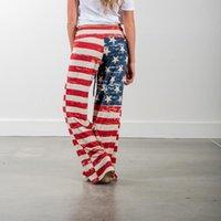 Leggings féminins sexy taille haute sport femmes drapeau américain drawstring large jambe pantalon s squat preuve