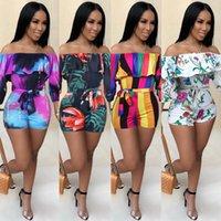 Новые женщины Комбинезоны 2020 Summer Printing оборками пакет хип игровая одежда Sexy Club Party Пояса Пляж Bodysuit Комбинезон для дам