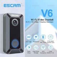 الجرس escam v6 720P اللاسلكية الجرس الفيديو كاميرا سحابة تخزين ماء الأمن المنزل مع بطارية داخلي الرنين dingdong