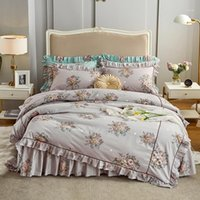 Princess Style Biancheria da letto Set da letto Ragazze Letto BedDingSet Cotton Biancheria da letto in lino Cover Duvet Bed Skirt Federa Ruffles Cover / Bed Set1