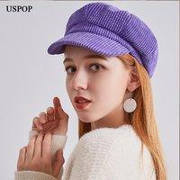 USPOP 2020 coiffent chaud femmes chapeaux octogonales Velours côtelé couleur unie Bérets bonnets souples de gavroche rétro visière chapeaux d'hiver de femme chaud
